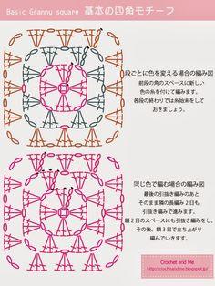 How to crochet a granny square Crochet Flower Squares, Crochet Doily Patterns, Crochet Diagram, Crochet Patterns Amigurumi, Crochet Motif, Crochet Stitches, How To Do Crochet, Crochet Art, Crochet Symbols
