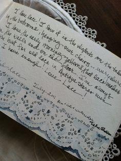 Tisha Sheldon's art journal, painting lace!
