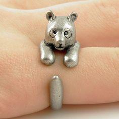 Animal Wrap Ring - Bear - White Bronze - Adjustable Ring - keja – Keja Designs Jewelry