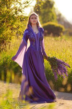 Dream Dress. Materials: silk, satin, chiffon, gabardine. Handmade embroidery with threads, beads and semi-precious gems by Aquilina