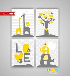 Printable DIY Yellow and Grey Nursery Art by KidsPrintablesDIY