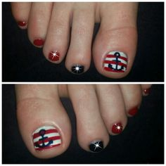 Another creation: nautical theme toes with rhinestones hairstylist Megan Barre Las Vegas, Nv