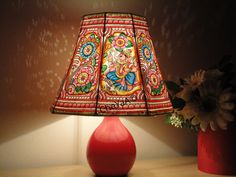 Hand Drawn and Painted Leather Lamp Shade / Vintage Art by ChaYaA