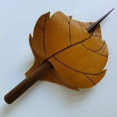 Golden Leaf Hair Stick Barrette - Eco Friendly Leather