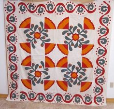 Antique 1870 80s Tulip 4 Block Pennsylvania Quilt Top Red Green Cheddar | eBay, gb-best