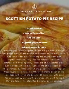 Scottish Potato Pie - Recipes World Scottish Dishes, Scottish Recipes, Irish Recipes, Pie Recipes, Potato Recipes, Cooking Recipes, English Recipes, Royal Recipe, Potato Pie