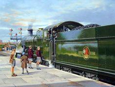 Railway Locomotive 7325 is Ready to Depart Worcester Shrub Hill Station (Wynne B Jones). Train Posters, Railway Posters, Train Illustration, Steam Art, Old Steam Train, Nostalgic Art, Rail Transport, Steam Railway, Train Art