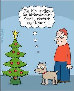 Ein Klo mitten im Wohnzimmer. Krank, einfach nur krank... =D  #karikatur #cool #witzig #humor #fun #lachen #spaß #weihnachten #christbaum