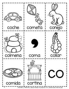 POSTERS y TARJETAS de sílabas iniciales en palabras con c (Spanish)