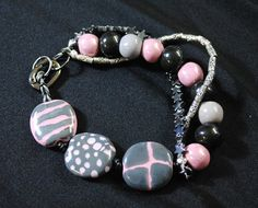 Pink and Gray Kazuri bead multi strand by TheGlassPearlShop