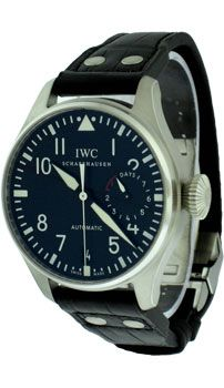 This IWC Big Pilot Men's Watch features: Mechanical Self-Winding movement with Hour, Minute, hacking Seconds functions. Calibre 51111( 42 jewels ). Stainless Steel case with fixed bezel, Case size: 46 mm, Black Dial with Steel Arabic hour markers, Central hacking seconds and leaf shape luminescent hands. - See more at: http://www.worldofluxuryus.com/special/IWC/Pilots-Watches/IW500901/185_206_5264.php#sthash.aSOXHSIo.dpuf