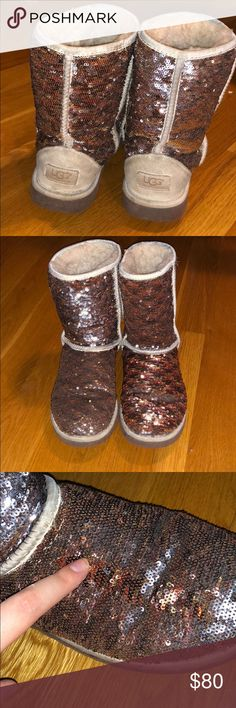 Color Changing Sparkly UGGS Color changing when rubbed up and down to neutral colors to sparkly. Used gently. FEEL FREE TO ASK QUESTIONS AND OFFER. GET 20% OFF AND PAY SHIPPING ONCE if you order two items from my closet! UGG Shoes Winter & Rain Boots