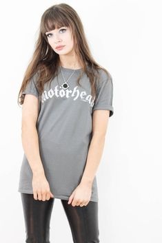 Motorhead Vintage Logo Tee Band Tees, Black Boots, Rock And Roll, Leather Jacket, T Shirts For Women, Skinny, Unisex, Cotton, How To Wear