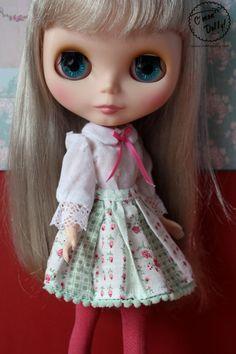 Blythe Licca Retro Vintage Flower Skirt Blouse Set by cmondolly on Etsy