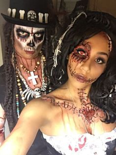 Voodoo priest & voodoo doll papa legba Halloween costume sfx skull/skeleton makeup idea. Special effects for Couples costumes