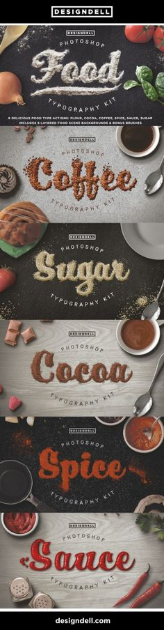 A set of 6 delicious photoshop actions to make any font look good enough to eat! Includes 6 layered food scenes and bonus grainy, floury and drippy brushes to get messy with!
