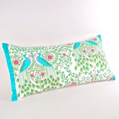 Peacocks Pillow Cover with Aquamarine Silk Trim 12 by MiCasaBella, $50.00