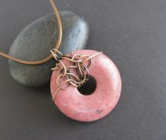 pink brown bronze necklace wire wrapped gold by AnnieJewelry (inspiration piece)