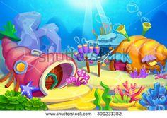 Creative Illustration and Innovative Art: Underwater Houses. Realistic Fantastic Cartoon Style Artwork Scene, Wallpaper, Story Background, Card Design  - stock photo