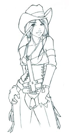 fashion_2 teens and adults coloring pages | coloring pages for ... - Cowboy Cowgirl Coloring Pages