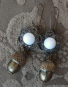 Brass Acorn and Flower Assemblage Dangle Earrings Vintage Components