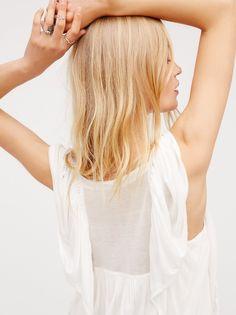 Camilla Christensen || FP Forever & Always Super Soft & Flowy Femme Flutter-Sleeve Blouse (Ivory)