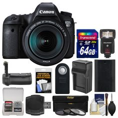 Canon EOS 6D Digital SLR Camera Body & EF 24-105mm IS STM Lens with 64GB Card + Flash + Battery & Charger + Grip + 3 Filters + Kit. KIT INCLUDES 12 PRODUCTS -- All BRAND NEW Items with all Manufacturer-supplied Accessories + Full USA Warranties:. [1] Canon EOS 6D Digital SLR Camera Body & EF 24-105mm IS STM Lens + [2] Transcend 64GB SDXC 300x Card + [3] BG-E13 Battery Grip +. [4] Precision Design Flash w/ LED + [5] 77mm (UV/CPL/ND8) Filters + [6] Spare LP-E6 Battery +. [7] Battery Charger...
