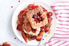 Cherry-berry bannock shortcakes with maple toffee sauce are a delicious twist on strawberry shortcake. With bannock, a traditional aboriginal bread, and maple-kissed toffee sauce, you can't get more Canadian than this! Photo by James Tse.