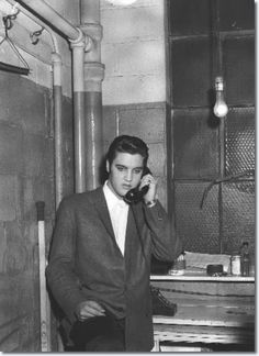 """""""At least please telephone..."""" Elvis.  n November 23 1956, a young amateur photographer, Lew Allen, who worked for his high school newspaper, was invited to photograph Elvis Presley at the Cleveland Arena, Ohio."""