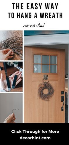 Discover the easy way for how to hang a wreath on your front door. No unsightly wreath hangers. No Nails! This is THE nail-free, damage-free way! Fashion Kids, Cool Diy, Easy Diy, Decorating Your Home, Diy Home Decor, Light Fixture Makeover, Diy Blanket Ladder, Wreath Hanger, Door Wreath