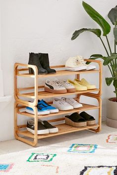 Shop Stackable Bamboo Shoe Rack at Urban Outfitters today. We carry all the latest styles, colors and brands for you to choose from right here. Best Shoe Rack, Diy Shoe Rack, Shoe Racks, Small Shoe Rack, Small Space Shoe Storage, Entryway Storage, Wall Storage, Entryway Shoe Rack, Storage Ideas