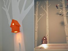 baby, children, decorations, nursery: Baby Birdhouse Lamp mounted in baby room with trees on wall