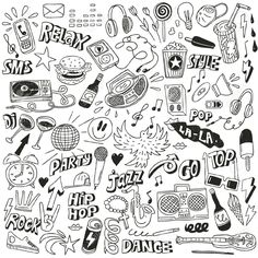 Image in Drawings, doodles collection by Martinajerkovic Doodle Tattoo, Doodle Art Drawing, Drawing Sketches, Collage Drawing, Doodle Art Letters, Doodle Art Journals, Music Doodle, Graffiti Doodles, Halloween Drawings