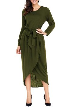 Olive Tulip Faux Wrap Sash Tie Long Sleeve Jersey Dress modeshe.com