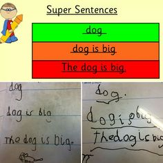 Super Sentences! Every day the children come into school and copy the words/sentences from the board while we do the register. The words stay the same for a week and we concentrate on sentence construction - capital letters, finger spaces, punctuation and also handwriting and writing on a line. Eventually we move on to the children completing sentences. We have found the children from last year have an excellent grasp of sentence construction!  #eyfs #earlyyears #aceearlyyears #earlywriters