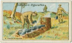 Field kitchen depicted on a #WWI cigarette ad.