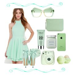 """""""Loving the limes"""" by gigicr ❤ liked on Polyvore featuring Lulu*s, Christian Dior, Eos, Fuji, Laura Mercier, Accessorize, Rebecca Minkoff, women's clothing, women and female"""