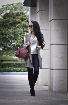 over the knee flat boots sweater vest fall outfit striped sweater burgundy bag, petite fashion blog, stylish petite, casual outfit - click the photo for outfit details!