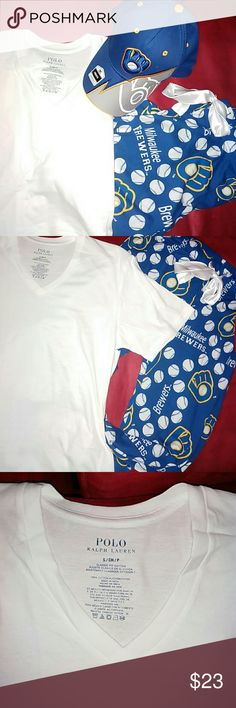 NWT Milwaukee Brewers Bundle New.  Lounge pants and white T-shirt.  Cap Not included, but is for sale in another listing.  If u want to purchase all of these items I'd be happy to bundle the three together for u at a discount.  Pants are small with elastic waist and satin like ribbon /drawstring.  T-shirt is Polo brand and V-neck style.  Also size small. Genuine Merchandise & Polo Pants Track Pants & Joggers