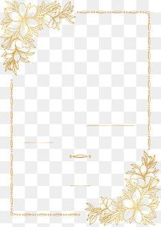 Golden hand-painted flower border PNG and Vector Wedding Invitation Background, Flower Invitation, Wedding Invitation Cards, Blog Backgrounds, Flower Backgrounds, Flower Border Png, Molduras Vintage, Golden Pattern, Background Decoration