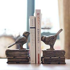 Ey 6 Land-Art-Vogel Typ 1 Paar Buchstuetzen Polyresin