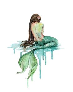Watercolor Mermaid Print Painting titled by TheColorfulCatStudio