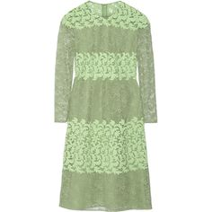 Burberry Paneled cotton-blend lace dress ($1,275) ❤ liked on Polyvore featuring dresses, light green, light green dress, slimming dresses, lace dress, burberry dress and green lace dress