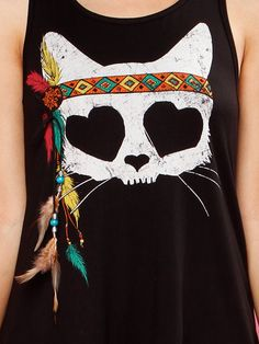 Feather Indian Cat Graphic Top