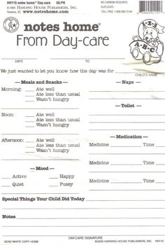 Daycare Daily Report Sheets Infant Reports For Printable...I like this one...a couple things we might not need (three medicine lines) but the other parts I like.