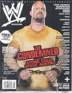 "WWE Magazine May 2007- ""The Condemned"" Stone Cold Steve Austin w/ Poster #wweeliminationchamber"