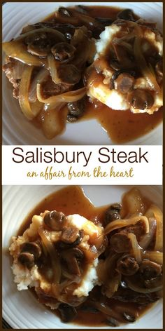 Salisbury Steak & Mushrooms from An Affair from the Heart Reminiscent of the comfort food from my childhood, this from scratch Salisbury Steak has mushrooms in the dark onion filled gravy.