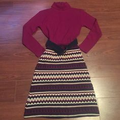 Vintage Sweater Dress w/ Belt True Vintage! Lisa Originals by Herman Marcus Purple Turtle Neck Long Sleeve Sweater Dress. Beautiful Print Design and with adjustable matching belt. Worn only a couple of times, and got SO many compliments! Excellent condition! Size Small. (Please note, brand is not Anthropologie, but very similar style) Anthropologie Dresses Long Sleeve
