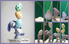 bunny balancing eggs by Rouvelee's Creations