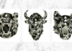 3 Prints, Woodland Print Set, Modern Black White Buffalo Bison Wolf Bear Artwork. A beautiful, woodland themed, set of three (3) prints. This art collection would be perfect for a gallery wall or to scatter throughout your home! You will receive all three prints shown above: Fractured Buffalo, Fractured Bear and Fractured Wolf. These prints were created from my original, black and white watercolor paintings. Lovely monochrome prints, inspired by minimalist, Scandinavian design. All prints...